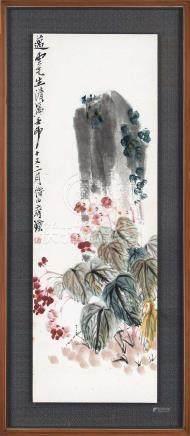 齐白石(1864~1957)  1932年作 秋海棠图 镜框 设色纸本