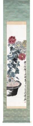 齐白石(1864~1957)  1923年作 菊寿延年 立轴 设色纸本