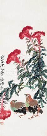 齐白石(1864~1957)  平安高冠 镜心 设色纸本