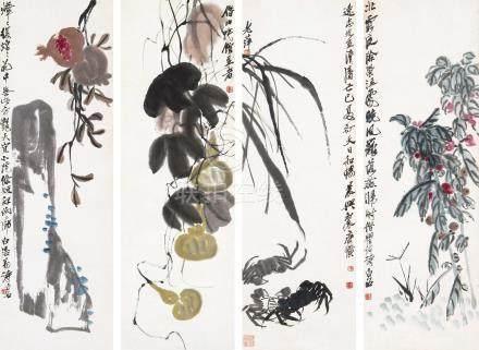 齐白石(1864~1957)  果实 四屏立轴 设色纸本