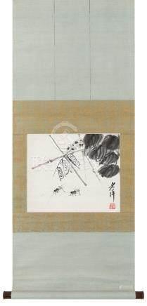 齐白石(1864~1957)  豆荚蟋蟀 立轴 水墨纸本