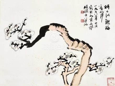 陆俨少(1909~1993)  1978年作 雪梅 立轴 设色纸本