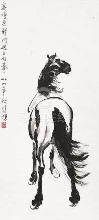 徐悲鸿(1895~1953)  1945年作 骏马 立轴 水墨纸本