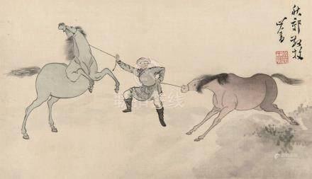 溥儒(1896~1963)  秋郊放牧 镜框 设色绢本