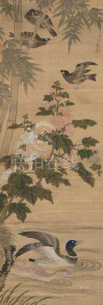 张亿(清) 花鸟 立轴 设色绢本