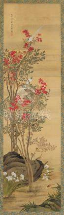 沈铨(清) 1754年作 花鸟 立轴 设色绢本