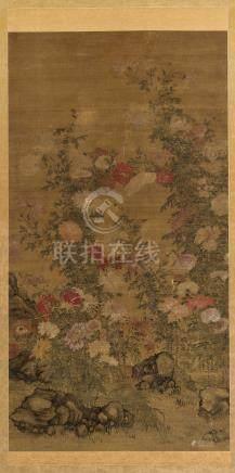 佚名 菊寿延年 立轴 设色绢本
