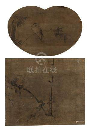 佚名 花鸟双挖 镜框 水墨绢本