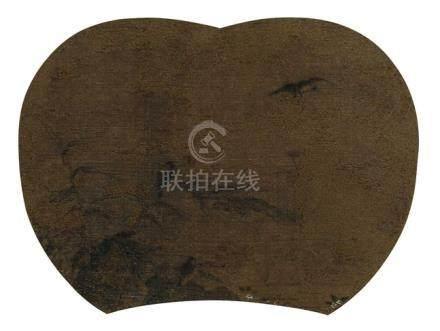 佚名 花鸟团扇 立轴 水墨绢本