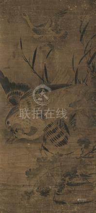 佚名 海青搏鹄 立轴 水墨纸本