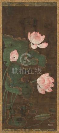 佚名 莲花 立轴 设色绢本