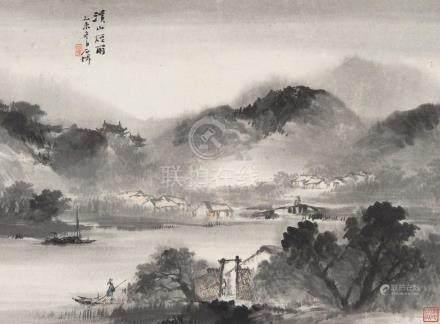 吴石僊(1845~1916) 1895年作 溪山烟雨 立轴 设色纸本