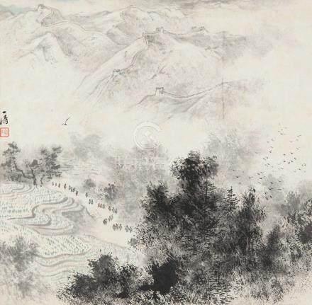 陶一清(1914~1986) 雄关漫道 立轴 设色纸本
