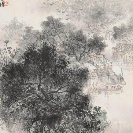 陶一清(1914~1986) 水乡 立轴 设色纸本