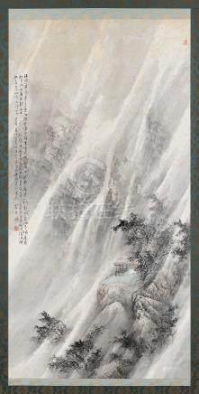 乐震文(b.1956) 1989年作 李白诗意 立轴 设色纸本