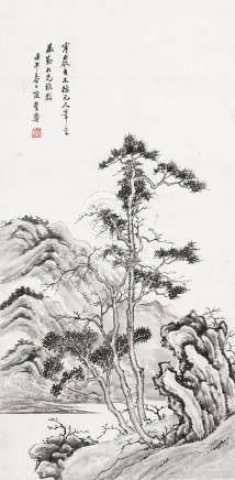 陈曾寿(1878~1949) 1942年作 寒岩古木 立轴 设色纸本