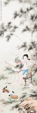 黄均(1914~2011) 竹阴调鸽图 立轴 设色纸本