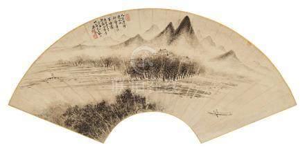 吴大澂(1835~1902) 1890年作 山水扇面 镜框 水墨纸本