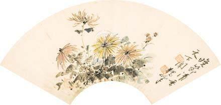 黃獨峰 花卉       設色紙本 镜片