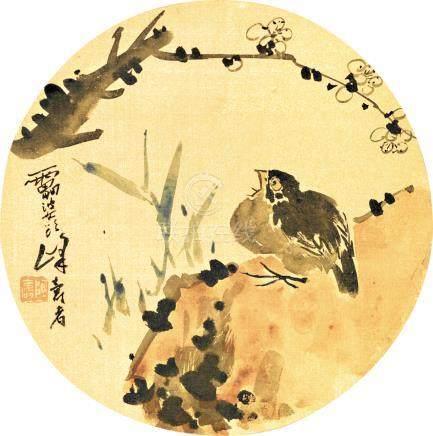 潘天壽  花鳥       設色絹本 團扇