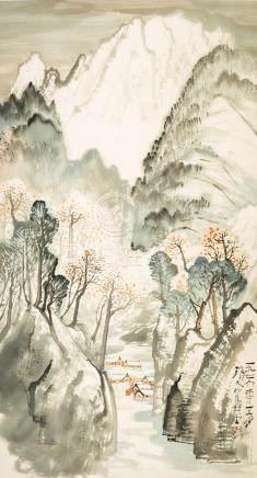 李瓊久 山水       設色紙本 镜片