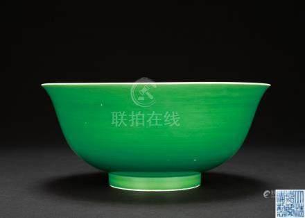 清嘉慶 瓜皮綠釉大碗