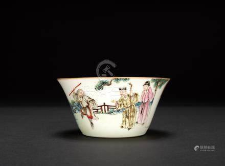 清中期 粉彩人物馬蹄杯