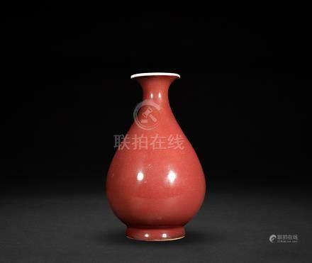 清早期 紅釉小玉壺春瓶