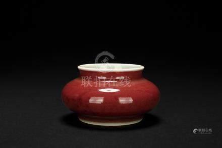 清十八世紀 霽紅釉水盂