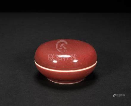 清中期 紅釉印泥盒