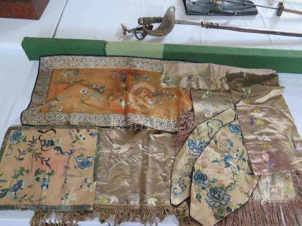 A Collection of Embroidered Chinese Silk Textiles A/F