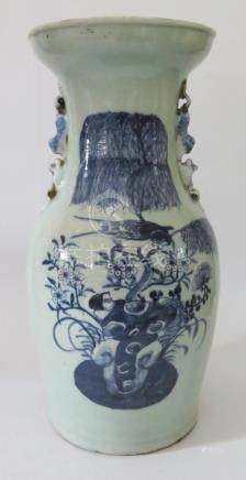 A Nineteenth Century Chinese Celadon Porcelain Baluster Vase with blue and white bird and foliate
