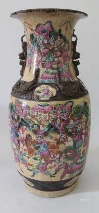 A Nineteenth Century Chinese Crackle Glazed Baluster Vase with famille rose battle scene, mark to