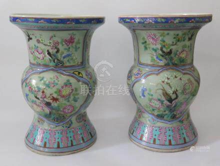 A Pair of Nineteenth Cantonese Zun Shaped Celadon Porcelain Vases decorated with birds and