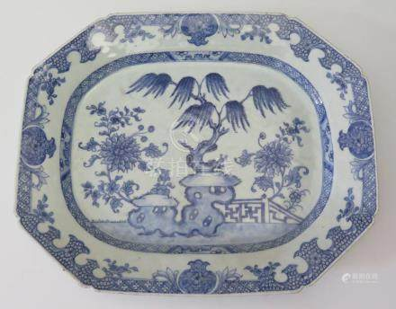 An Eighteenth Century Chinese Blue and White Platter, 41 x 43cm