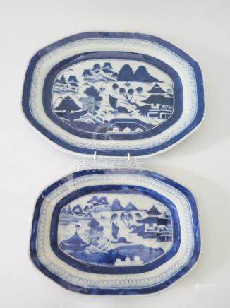 A Pair of Eighteenth Century Chinese Export Ware Blue and White Porcelain Platters, 33.5 x 17 and 26