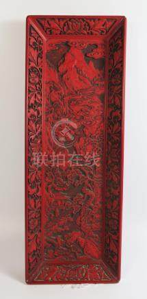 A Chinese Cinnabar Tray, 39 x 14cm