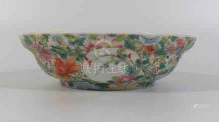 A Nineteenth Century Chinese Porcelain Bowl with floral decoration, six character mark to base, 15.