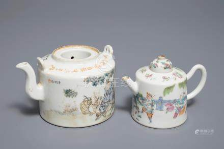 Two Chinese famille rose and qianjiang cai teapots, 19/20th C.