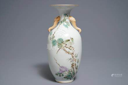 A Chinese qianjiang cai vase with birds and flowers, 19/20th C.