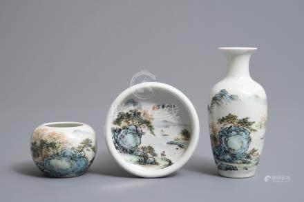 Three Chinese qianjiang cai wares inscribed Wang Ye Ting, 20th C.