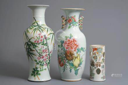 Two Chinese famille rose vases and a qianjiang cai hat stand, 19/20th C.