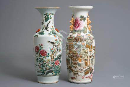 Two Chinese qianjiang cai and famille rose vases, 19/20th C.