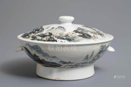 A Chinese qianjiang cai tureen and cover, 20th C.