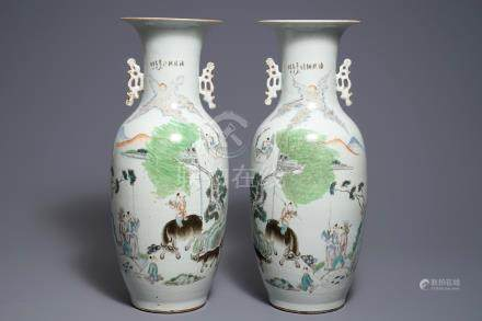 A pair of Chinese qianjiang cai vases with figures in a landscape, 19/20th C.