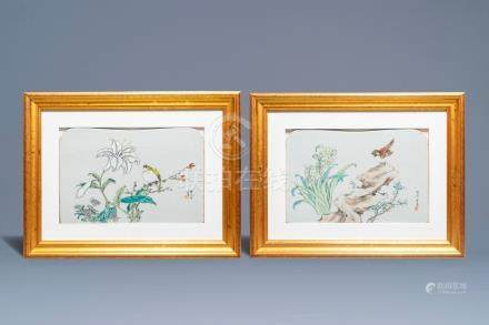 Two framed Chinese qianjiang cai plaques, Jin Pin Qing, 19th C.