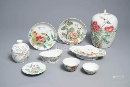 Nine Chinese qianjiang cai wares, 19/20th C.