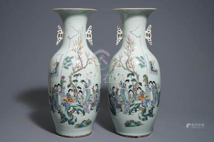 A pair of Chinese qianjiang cai vases with figures in a garden, 19/20th C.