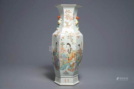 A Chinese hexagonal qianjiang cai vase with ladies and children, 19/20th C.
