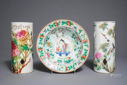 Two Chinese qianjiang cai hat stands and a famille rose bowl, 19/20th C.
